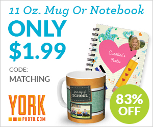 Custom 11 OZ. Photo Mug and/or Notebook – Just $1.99 each - Save $10 on each!