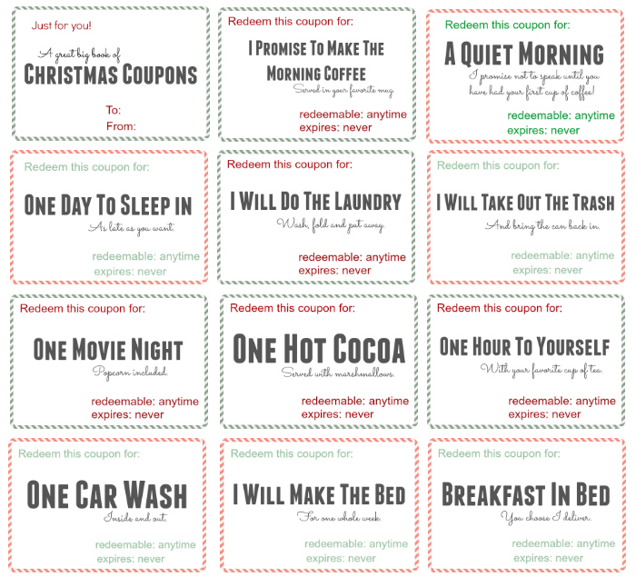 Free printable christmas coupon book bonus code included for Coupon book for husband template